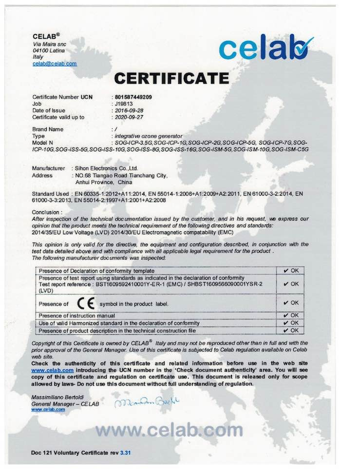 Sihon Ozone Kits CE Certification