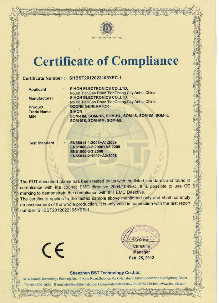 Sihon Ozone Machine CE Certification
